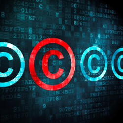 Blue and red copyright symbols