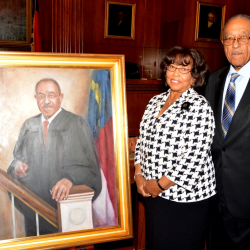 Justice and Mrs. Frye with his new Portrait