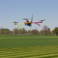 Drone Inspecting Crops in a Field