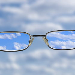 Glasses looking at the sky
