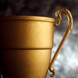 Gold Trophy on dark background