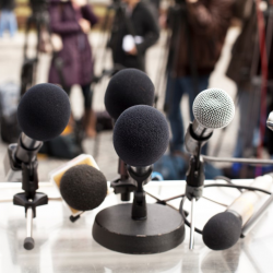 Photograph of microphones on table