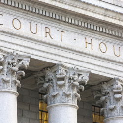 Outside of Court, close up of columns