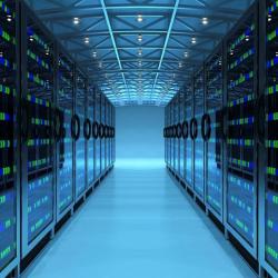 Server Room with Blue Lights