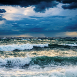 Stormy seas and dark skies