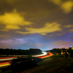 Evening landscape of a highway