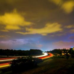 Evening landscape of a highway