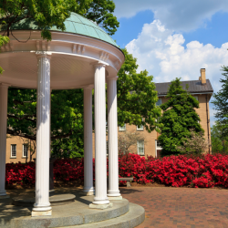 UNC's Old Well in springtime
