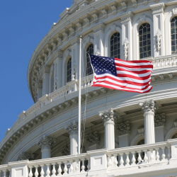 US Congress with American flag