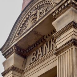 Exterior of bank, archway