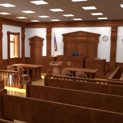 Inside of an empty courtroom