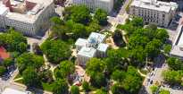 Aerial view of Capital building in Raleigh