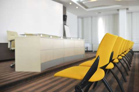 Conference room with yellow chairs