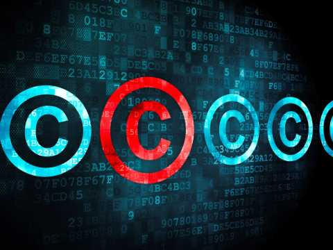 Red Copyright symbols on black background