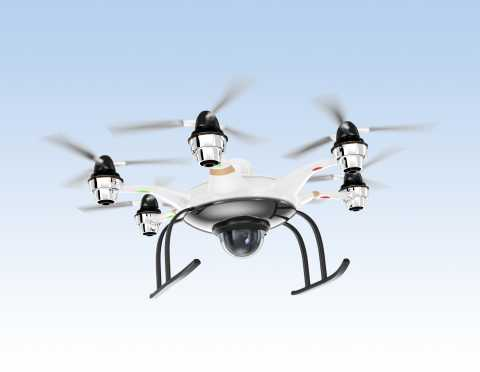 Hexacopter Drone UAS with security camera