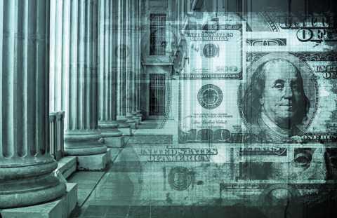 Stylized photograph of money