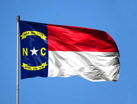North Carolina Flag waving in the wind