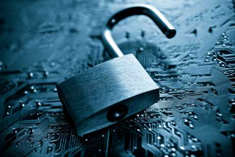 Privacy concept, lock on top of tech background