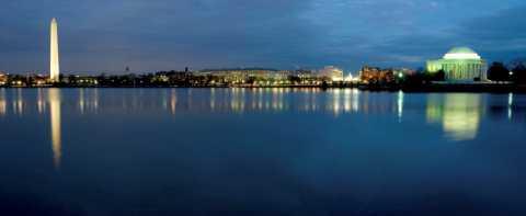 Photograph of Washington DC at night