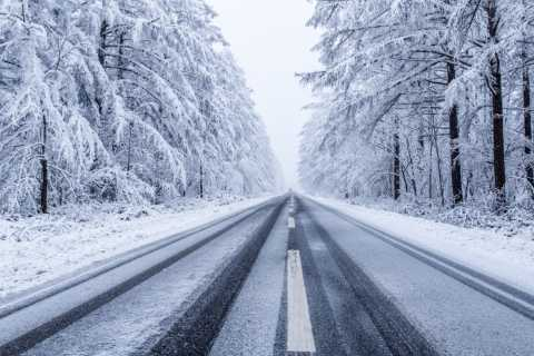 Snow, icy road, dangerous conditions