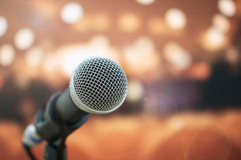 Close up of microphone with blurred background