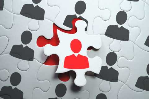 Employment concept, puzzle pieces fitting together