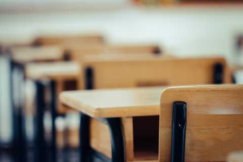 School, empty classroom chair