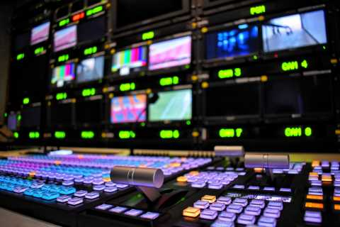 Inside of broadcast tv studio
