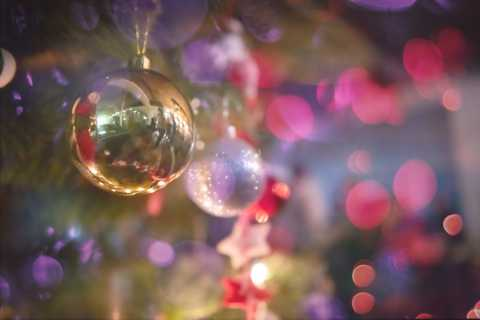 Close up of ornaments, blurred background with bright lights