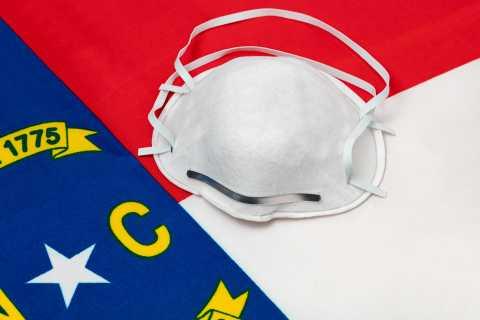 N95 mask on top of North Carolina flag
