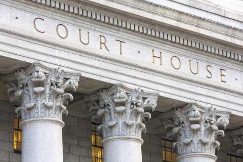 Exterior close up of court house columns