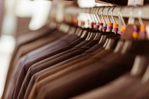 Business clothes on rack in store