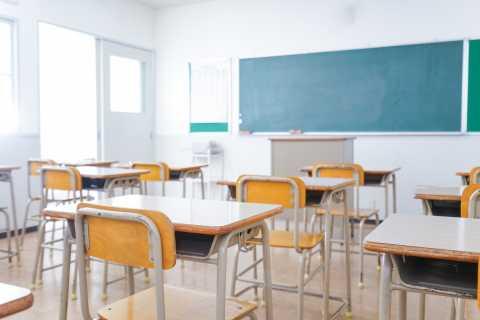 Classroom, desks, blackboard