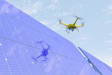 Drone Inspecting a solar panel