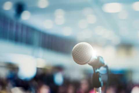 Closeup of microphone at presentation