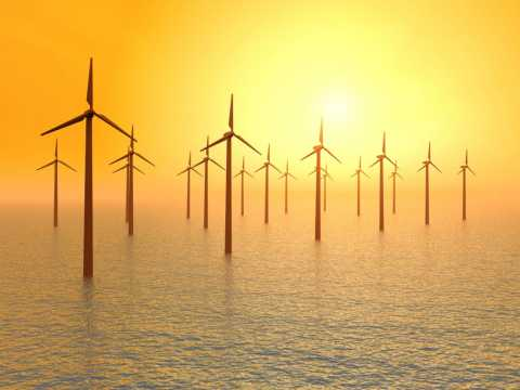 Wind turbines over water, green energy